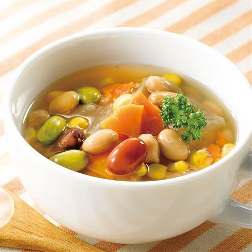 お豆と野菜のごろっとおかずスープ