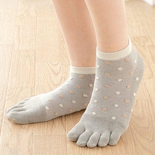 【レディース】 オーガニック綿混5本指靴下 3色組
