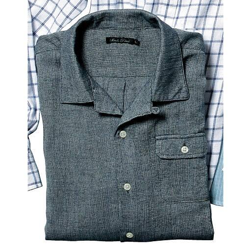 【SALE】 【メンズ】 綿100%ざっくり素材シャツ(半袖) – セシール