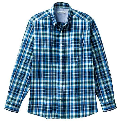 【SALE】 【メンズ】 フレンチリネンブレンドチェックシャツ(長袖) – セシール