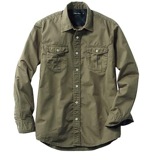 【メンズ】 綿100%ツイルロールアップ仕様シャツ