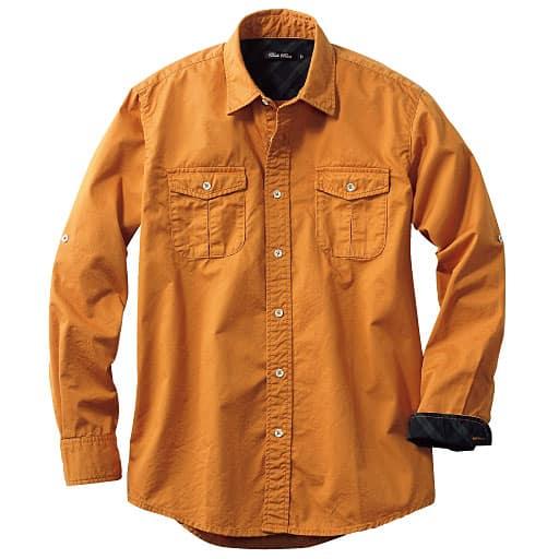 【メンズ】 綿100%ツイルロールアップ仕様シャツ – セシール