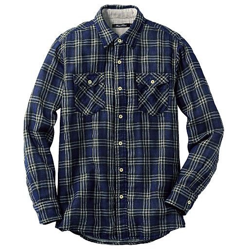 【SALE】 【メンズ】 綿100%チェック柄ダブルガーゼシャツ