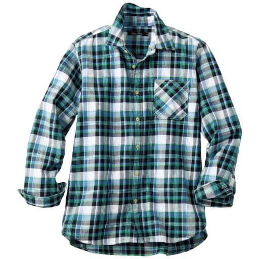 【メンズ】 綿100%チェック柄ツイルシャツ