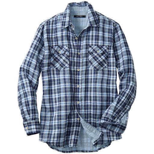 【メンズ】 綿100%チェック柄ダブルガーゼシャツ