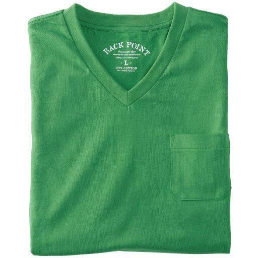【メンズ】 綿100%VネックTシャツ(半袖)(S-7L)