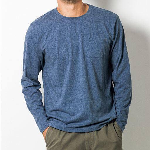 30%OFF【メンズ】 綿100%クルーネックTシャツ(長袖)(S-7L)