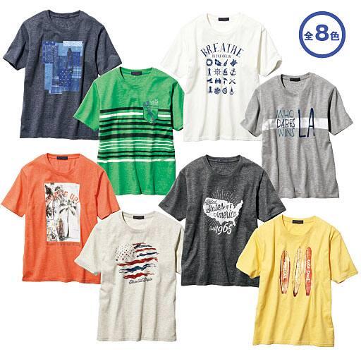 【メンズ】 表面変化素材プリントTシャツ