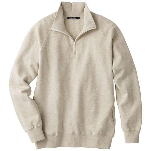 【メンズ】 綿100%スウェットのハーフジップトレーナー。こだわりメンズのための抗菌・防臭機能付き天然素材
