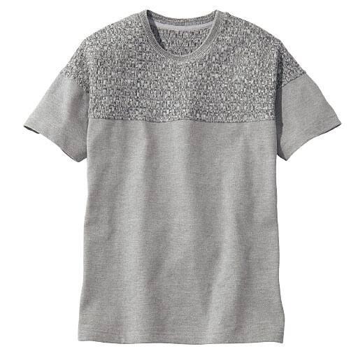 30%OFF【メンズ】 ニット切替デザインTシャツ 一枚で見栄えするシンプルかっこいい一枚 - セシール