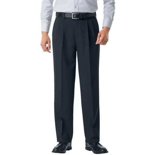 【メンズ】 ウエスト調整仕様のウォッシャブルスラックス(ツータック)吸汗速乾機能付き メンズパンツ - セシール