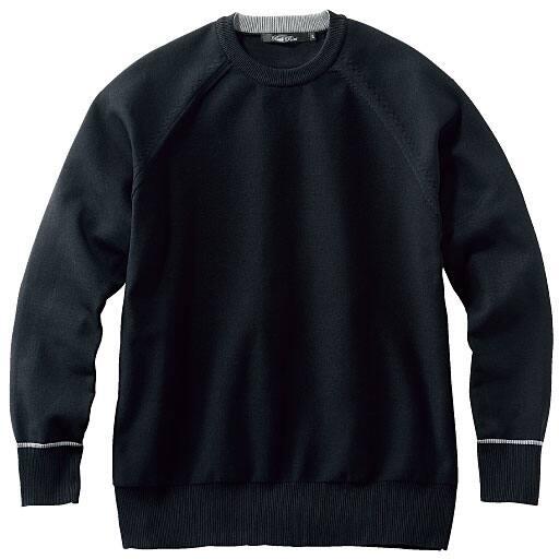 【SALE】 【メンズ】 クルーネックラグランスリーブ天竺切替セーター - セシール
