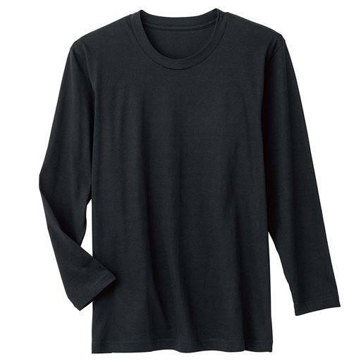 【メンズ】 男の綿100%長袖クルーネックTシャツ・2枚組