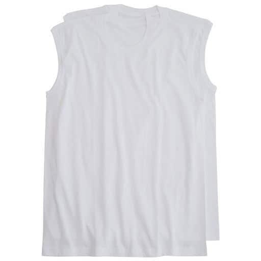 【メンズ】 男の綿100%スリーブレス丸首・2枚組