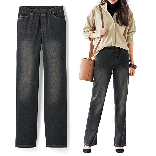 【レディース】 ニットデニムストレートパンツ(スマートニットジーンズ)(美脚パンツ・SSサイズ・選べる3レングス)の通販