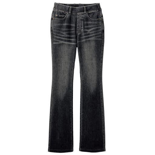 【レディース大きいサイズ】 ニットデニムブーツカットパンツ(スマートニットジーンズ)(美脚パンツ・選べる3レングス)