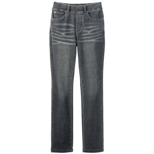 【レディース大きいサイズ】 ニットデニムストレートパンツ(スマートニットジーンズ)(美脚パンツ・選べる3レングス)