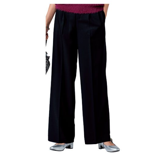 【レディース大きいサイズ】 センタープレスワイドパンツ(美脚パンツ・吸汗速乾)の通販