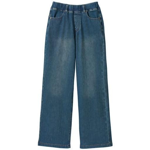 【レディース大きいサイズ】 ニットデニムセミワイドパンツ(スマートニットジーンズ)(美脚パンツ・選べる3レングス)