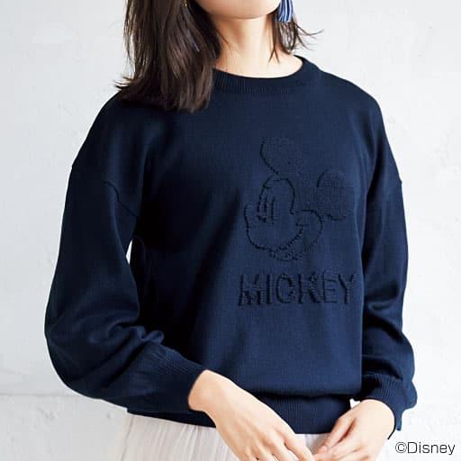 【レディース】 引き抜きジャカードニット(ミッキーマウス) – セシール