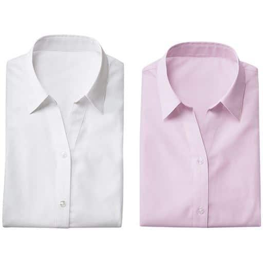 【レディース】 形態安定2枚組ベルカラーシャツ(半袖)の通販