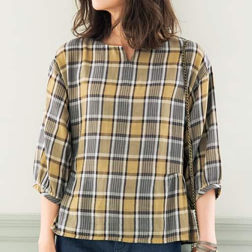 【SALE】 【レディース】 綿100%ダブルガーゼプルオーバーシャツ