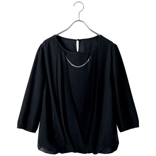 【SALE】 【レディース】 シフォンブラウス(アクセサリー付き)(七分袖)の通販