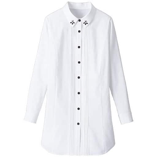 【レディース大きいサイズ】 ビジュー付きロングシャツ