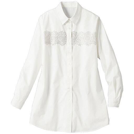 【SALE】 【レディース大きいサイズ】 レース使いロングシャツの通販