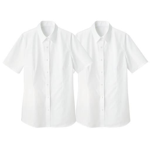 【レディース】 形態安定2枚組レギュラーカラーシャツ(半袖)の通販