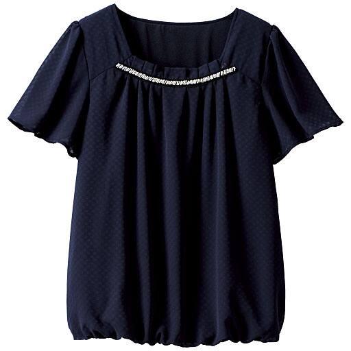 【SALE】 【レディース大きいサイズ】 衿ビジュー使いブラウスの通販