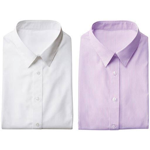 【レディース】 形態安定2枚組レギュラーシャツ(長袖)の通販