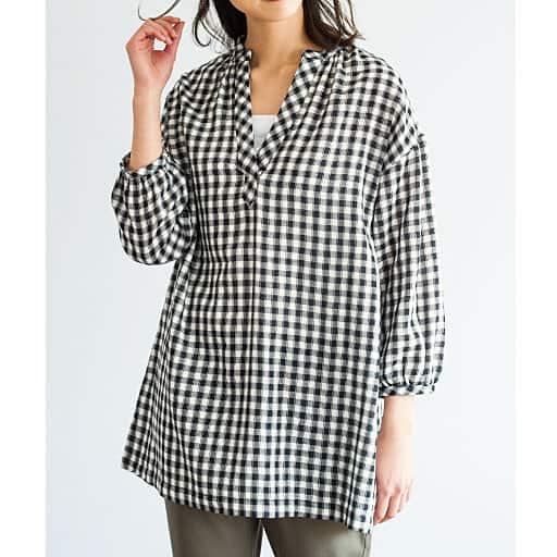 【SALE】 【レディース】 ダブルガーゼ ロングプルオーバーシャツ(7分袖)の通販