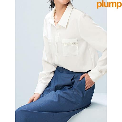 【SALE】 【レディース大きいサイズ】 ポケットレース使いシャツの通販