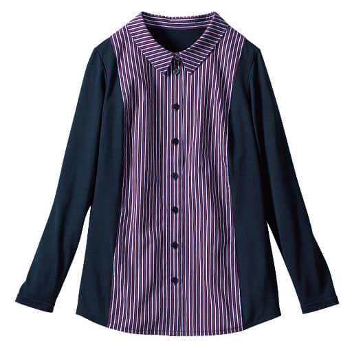 【SALE】 【レディース大きいサイズ】 カットソー使いシャツの通販