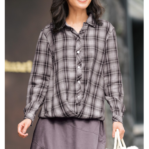 【レディース大きいサイズ】 トリプルガーゼフロントドレープシャツ - セシール