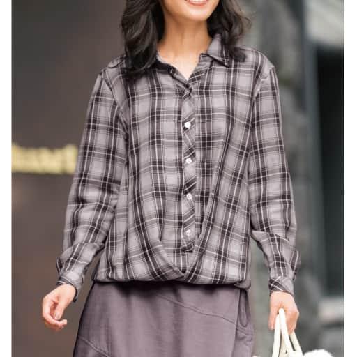 【SALE】 【レディース大きいサイズ】 トリプルガーゼフロントドレープシャツの通販