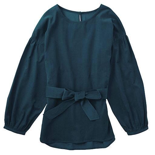 【SALE】 【レディース】 ベルト付きコーデュロイプルオーバー(綿100%)の通販