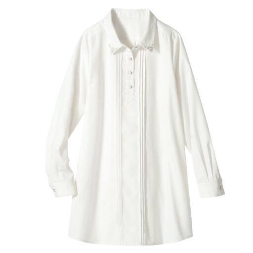 【SALE】 【レディース】 パール調ビジュー使いシャツチュニックの通販