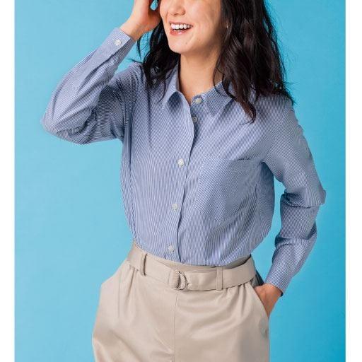 【レディース大きいサイズ】 形態安定レギュラーシャツ(抗菌防臭・UVカット)