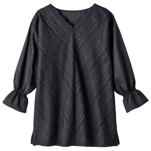 【レディース】 カットワークレースブラウス(綿100%)の通販
