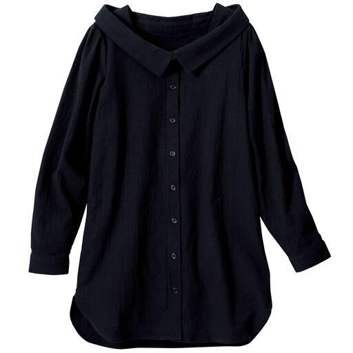 【レディース大きいサイズ】 抜き衿デザインシャツ(綿100%)の通販