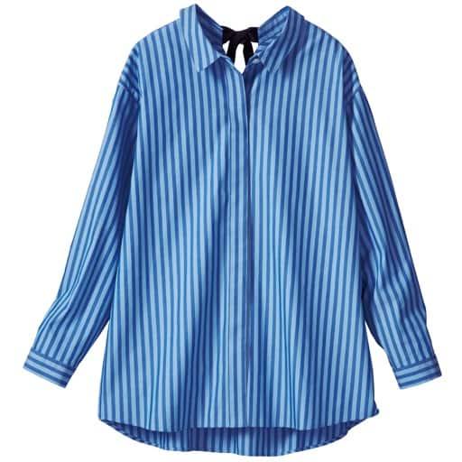 【レディース大きいサイズ】 リボンモチーフストライプ抜き衿シャツの通販