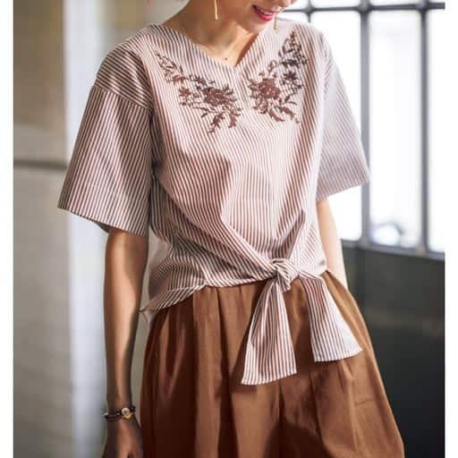【レディース】 刺繍ブラウス(綿100%)の通販