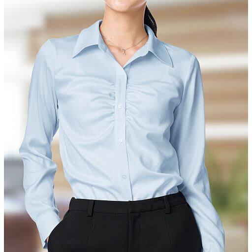 【レディース】 フロントギャザーシャツ(制菌)の通販