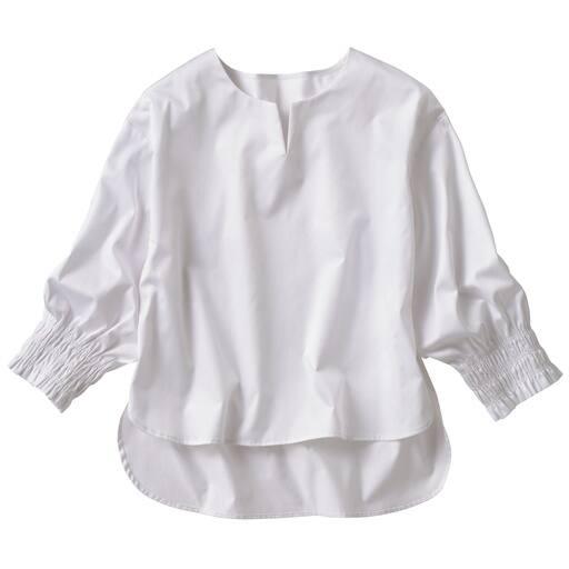 【レディース】 袖口シャーリングキーネックブラウス(綿100%)の通販