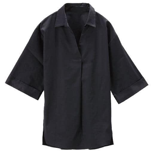 【レディース】 ワイドスリーブスキッパーシャツ(綿100%)の通販