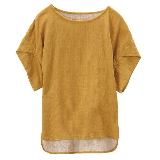 【レディース】 ダブルガーゼノーカラー半袖プルオーバー(綿100%)の通販