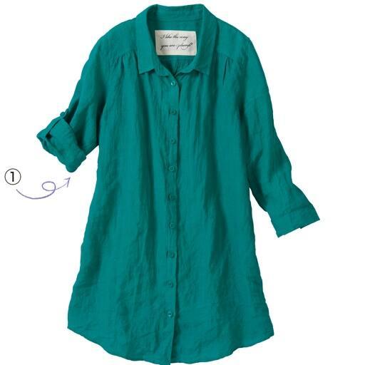 【レディース大きいサイズ】 フレンチリネン7分袖シャツ(麻100%)の通販