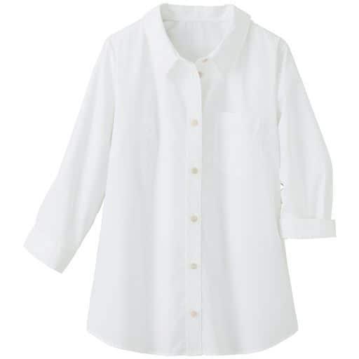 【レディース大きいサイズ】 形態安定レギュラーカラーシャツ(7分袖)(UVカット・抗菌防臭) - セシール